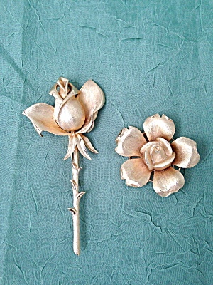 Pr. Of Trifari Rose Brooch Pins