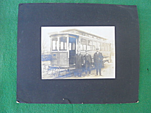 Old Trolley Car Photo W/conductor & Others