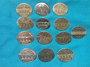 12 Ohio Chauffer Badges 1939-51