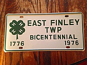 East Finley Pa 4h Bicentennial License Plate