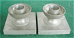 Pr. Of Alloy Art Pewter Candleholders
