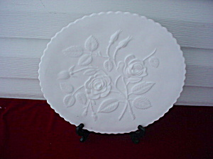 Imperial Milk Glass Rose Plate