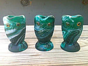 3 Imperial Glass Green Slag Owl Creamers