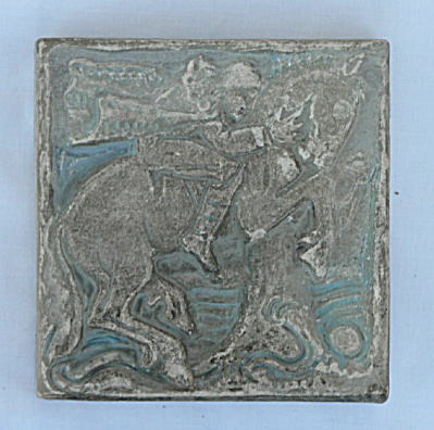 Man Riding Prancing Horse (#1) - Batchelder Tile