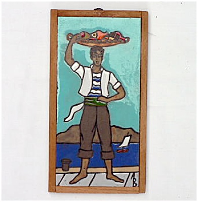 Scenic Signed Tile - Man At The Sea Shore