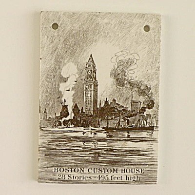 1915 Wedgwood Calendar Tile Boston Custom House #2
