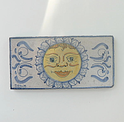 Hand Painted Italian Tile Sun Face
