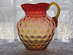 Antique Amberina Inverted Coinspot Pitcher