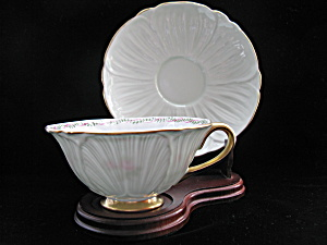 Shelley Rose Spray Green Oleander Cup & Saucer