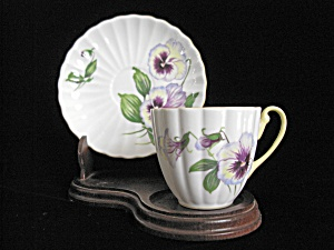 Shelley Bone China Demi Tasse Cup & Saucer - Pansy