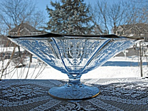Cambridge Glass Cleo Etch Willow Blue Ftd. Bowl
