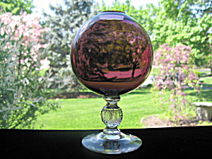 Cambridge #1066 Amethyst Ivy Vase W/golf Ball Stem