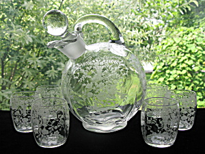 Cambridge Glass Portia Ball Decanter W/6 Tumblers