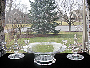 Duncan & Miller Cut Rock Crystal Fruit Bowl & Candles