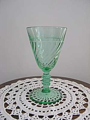 Duncan And Miller Green Spiral Flues Water Goblet
