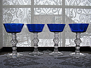 Heisey Cobalt Spanish Stem Champagne Goblets -- Set Of