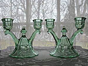 Heisey Moongleam Thumbprint & Panel Candleholders - Pr.