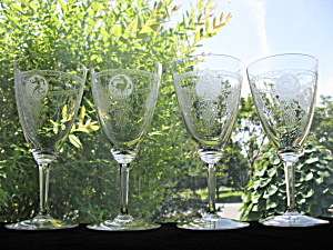Heisey Pied Piper Etch Goblets - 4
