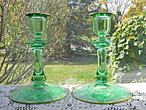 Glastonbury/lotus Green La Furiste Candlesticks - Pr.