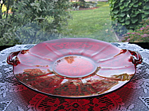 New Martinsville Ruby Addie/twelve Point 2 Handled Tray