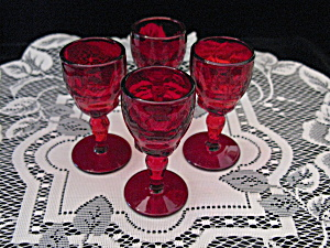 New Martinsville Ruby Moondrops Wine Stems - 4