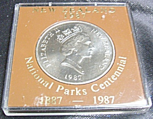 New Zealand 1987 National Park Centennial Silver Dollar