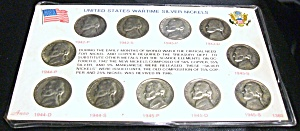 United States Wartime Silver Nickels 1942-1945