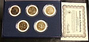 2002 24 Karat Gold Plated Statehood Quarters W. Certificate Of Auth.
