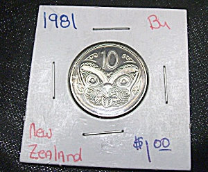 New Zealand 10 Cent Coin 1981 Bu