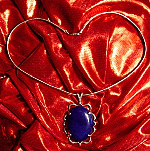 Antique Sterling Silver Necklace With Blue Stone