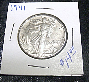 Liberty Walking Half Dollar 1941 90 % Silver.