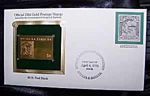 Gold Postage Stamp 24kt $6 St. Paul Black 1st Day Of Issue.