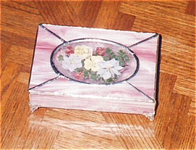 Pink Stained Glass Box With Dried Flowers
