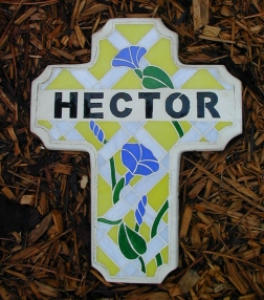 Stained Glass Stepping Stone - Memorial Cross