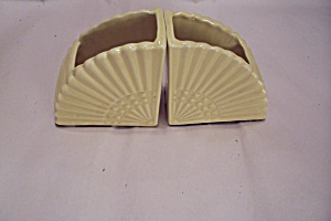 Pair Of Yellow Cache Pot Fan Shaped Bookends