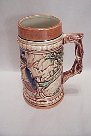 Porcelain Beer Stein With German Motif