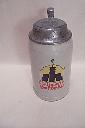 German Pottery Bofbrau Beer Stein With Pewter Lid