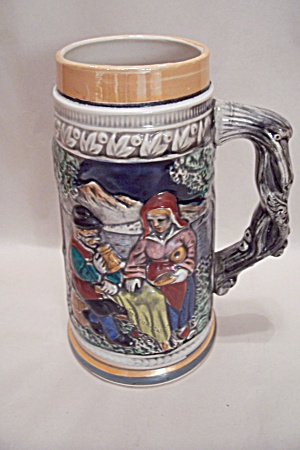 German Motif Porcelain Beer Stein