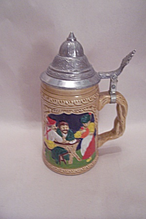 German Motif Porcelain Beer Stein With Pewter Lid