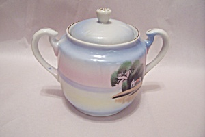 Occupied Japan Pastel Colors Sugar Bowl With Lid