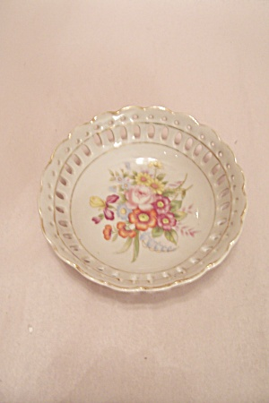 Occupied Japan Lattice Rimmed Floral Motif Small Bowl