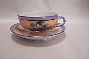 Occupied Japan Handpainted Lustre Teacup & Saucer Set