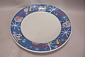 Coca Cola Laughing Snowman Fine China Round Platter