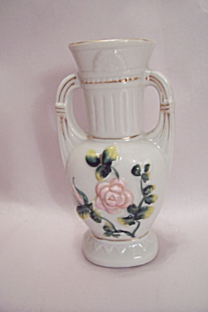 Occupied Japan Small Floral Motif White Porcelain Vase