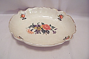 Hand Painted Floral Motif Oval Candy Dish