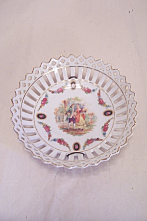 German Fine Porcelain Dish With Lattice Rim