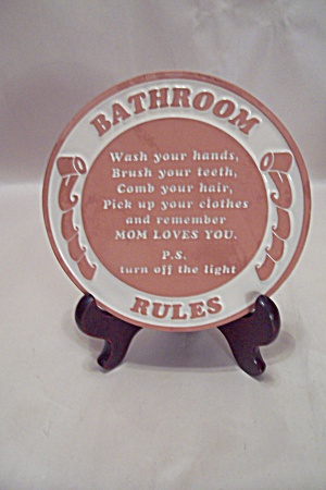 Frankoma Pottery Bathroom Rules Wall Plaque