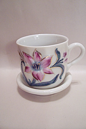 German Floral Design Teacup & Saucer