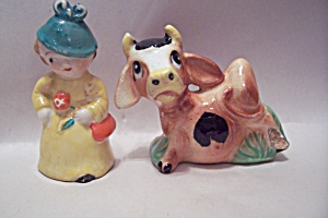 Occupied Japan Porcelain Dutch Girl & Cow S&p Set