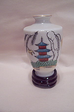 Occupied Japan Pagoda Decorated Miniature Vase